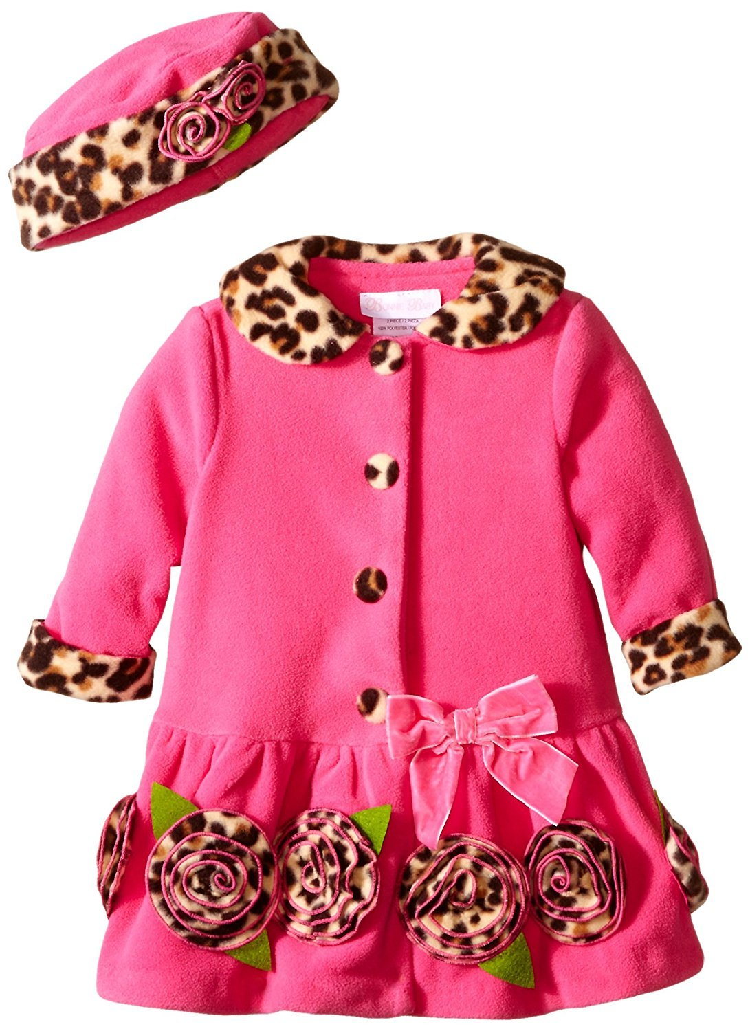 Bonnie Jean Girls Winter Fleece Pink Leopard Trim Coat and Hat 12M 2T