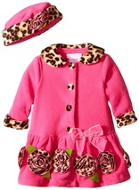 Bonnie Jean Baby Girls 12M-24M Fuchsia Bonaz Rosette Border Fleece Coat/Hat Set