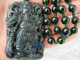"Free shipping - handmade dark green jadeite jade luck ""Guan Yu"" charm pendant ch - $29.99"
