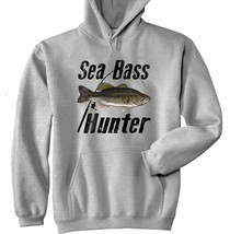 Sea Bass Hunter - New Cotton Grey Hoodie - $33.15
