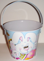 Small Tin Pail w/ Blue Easter Bunny Design - $7.00