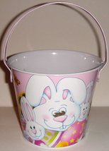 Small Tin Pail w/ Pink Easter Bunny Design - $7.00