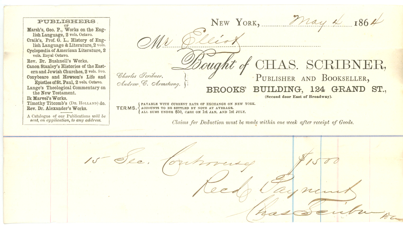 Chas Scribner 1864 advertising invoice waybill books New York publisher