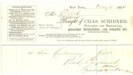 Chas Scribner 1864 advertising invoice waybill books New York publisher - $7.00