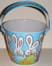 Small Tin Pail w/ Blue w/ White Dots, Easter Bunny Design - $7.00