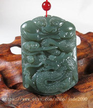 Free Shipping -  Dragon Hand carved Real Green jadeite jade Carved Dragon charm  - $25.99
