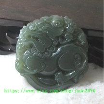 Free Shipping -  Amulet Natural green jade jadeite carved ''pi yao'' pra... - $25.99
