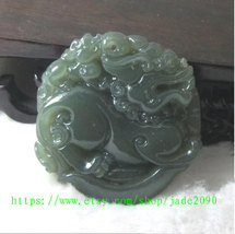 Free Shipping -  Amulet Natural green jade jadeite carved ''pi yao'' prayer Heal image 2