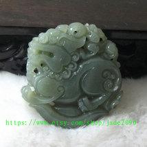 Free Shipping -  Amulet Natural green jade jadeite carved ''pi yao'' prayer Heal image 3