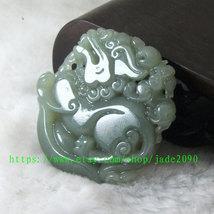 Free Shipping -  Amulet Natural green jade jadeite carved ''pi yao'' prayer Heal image 4