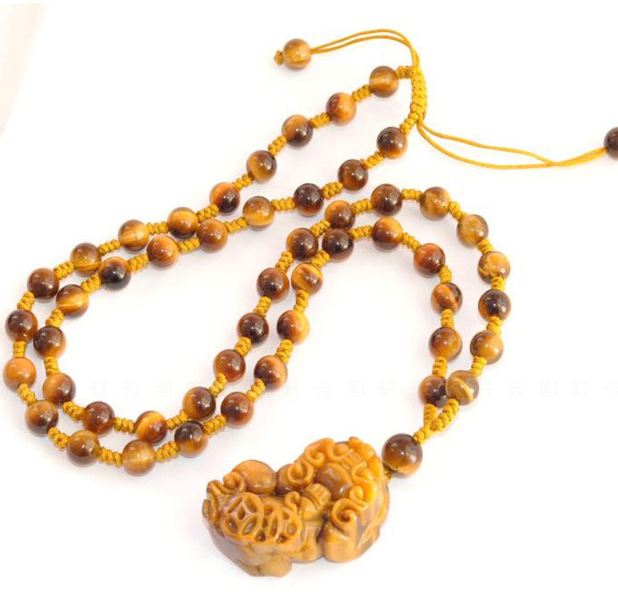 Free Shipping - good luck 100% Natural Yellow Tiger eye stone carved Pi Yao Amul