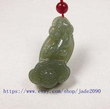 Free Shipping -  Amulet Natural green jade carved ''pi yao'' prayer Health penda image 3