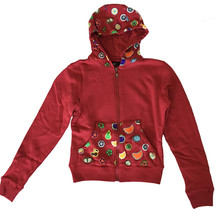 UGP Sweets Womens Cropped Maroon Red Fruity Yummy Goodies Zip Up Hoodie NWT