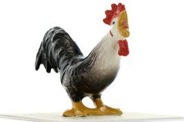 Hagen Renaker Miniature Chicken Leghorn Rooster Black Ceramic Figurine image 3