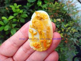 Free Shipping - Hand- carved Natural yellow jadeite jade Phoenix  charm jade Pen - $35.99