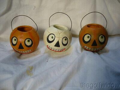 (3) Bethany Lowe Halloween Character Buckets Ornaments
