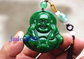 Free Shipping -  Natural Green jadeite jade Laughing buddha charm jade pendant - - $30.00