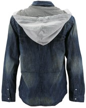 Men's Distressed Vintage Woven Hooded Denim Jean Cobain Shirt Jacket image 2