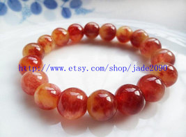 Free Shipping - 100% Nice Natural drak Red Jadeite Jade charm beaded jade Bracel - $19.99