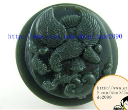 FREE SHIPPING -  jade Eagle , good luck Hand carved Natural green jadeite jade E - $25.99