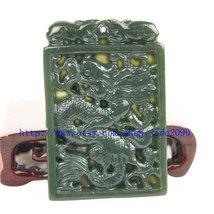 Free Shipping - Amulet auspicious green jade Dragon Natural Green jadeite jade C - $25.99