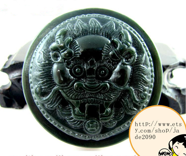 Primary image for Free shipping - Hand carved  Demon Hunter Natural dark green jade jadeite charm