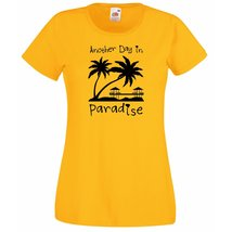 Womens T-Shirt Sunset Beach Palms & Bungalows, Quote Another Day Paradise Shirts - $24.74