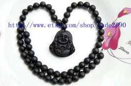 Free Shipping - hand carved black jadeite jade good luck Amulet Hand carved Laug - $25.99