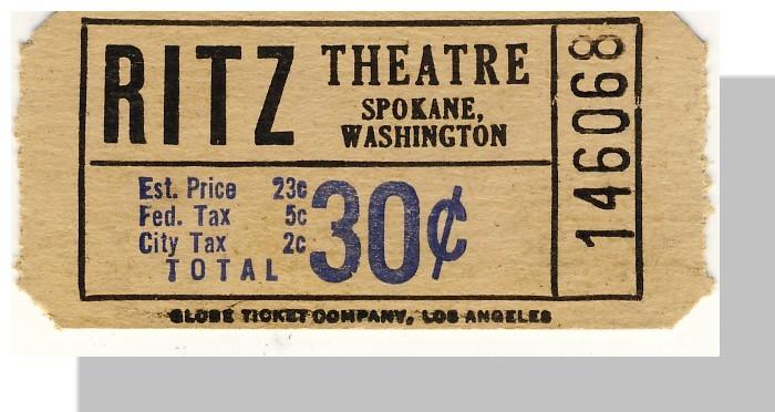 Spokane wa ritz theatre 30 cents
