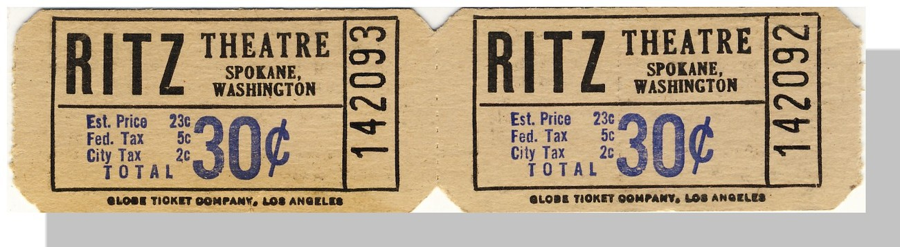 Spokane wa ritz theatre 30 cents pair