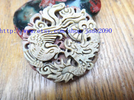 Free Shipping -  Good luck Hand- carved AAA Natural Yellow Dragon and Phoenix ja - $25.99