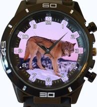 Predator Grey Wolf Looking For Prey Trendy Sports Style Unisex Gift Watch - $34.99