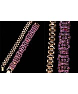 LOT of Two Art Deco Style Sparkly Rhinestones Pink Purple and Golden Ton... - $30.00