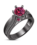 1 Carat Pink Sapphire Black Gold Finish 925 Silver Antique Halo Engageme... - $73.99