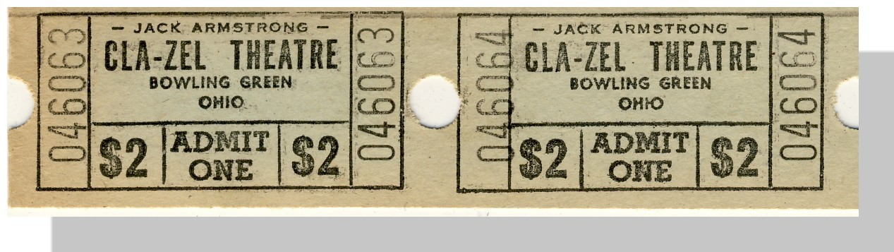 Bowling green cla zel theatre ticket  2 pair