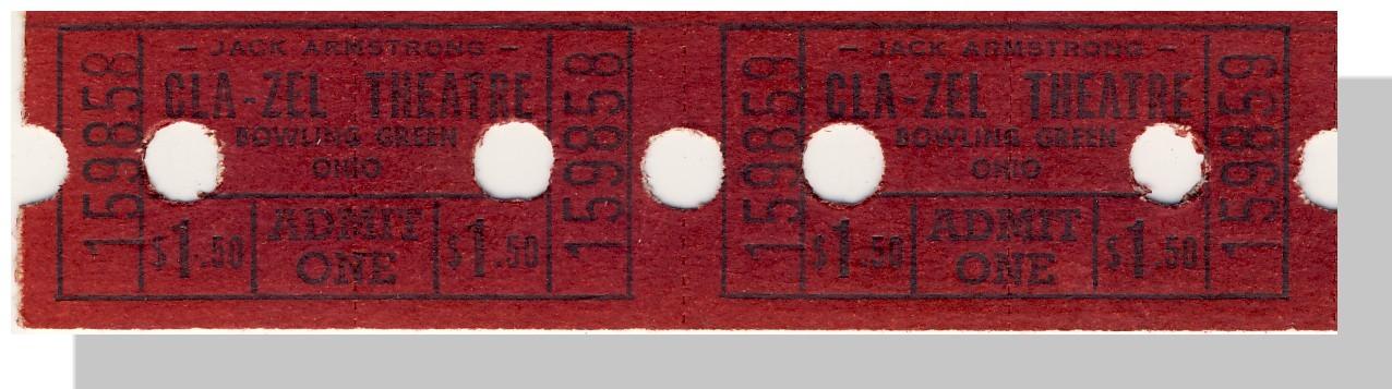 Bowling green cla zel theatre ticket 1.50 pair