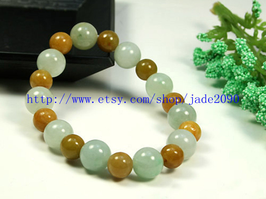 Primary image for Free Shipping - 100% Nice Natural white Yellow Jadeite Jade charm beaded jade be