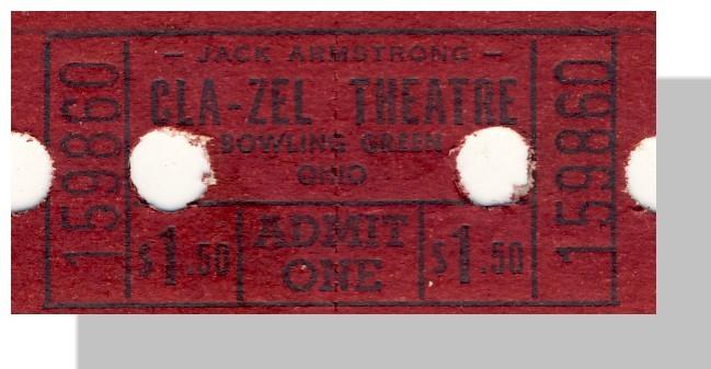 Bowling green cla zel theatre ticket 1.50 single