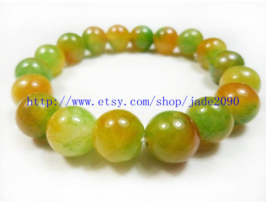 Free Shipping - 100% Nice Natural Orange Yellow Jadeite Jade charm beaded jade B - $19.99