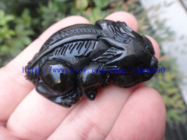 Free Shipping - good luck Natural  black jadeite jade carved Pi Yao jadeite jade image 2