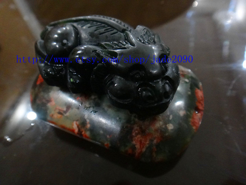 Free Shipping - good luck Natural  black jadeite jade carved Pi Yao jadeite jade