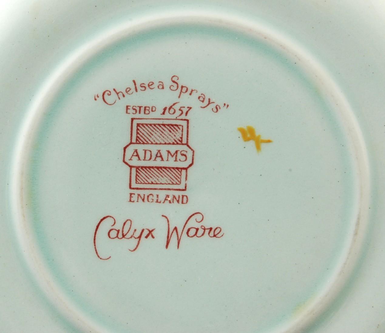 Adams China Chelsea Sprays Blue Octagonal Saucers Calyx Ware