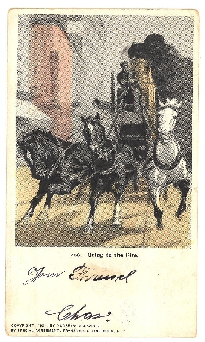 Going to the Fire antique postcard truck horses 1901 vintage