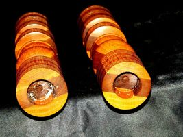 Wooden lay Candle Sticks AA19-1546 Vintage Pair image 3