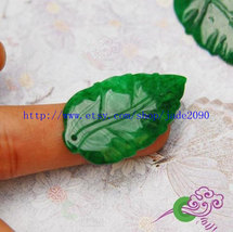 Free Shipping- Hand carved  Natural Green Jadeite Jade Tree leaf charm P... - $19.99
