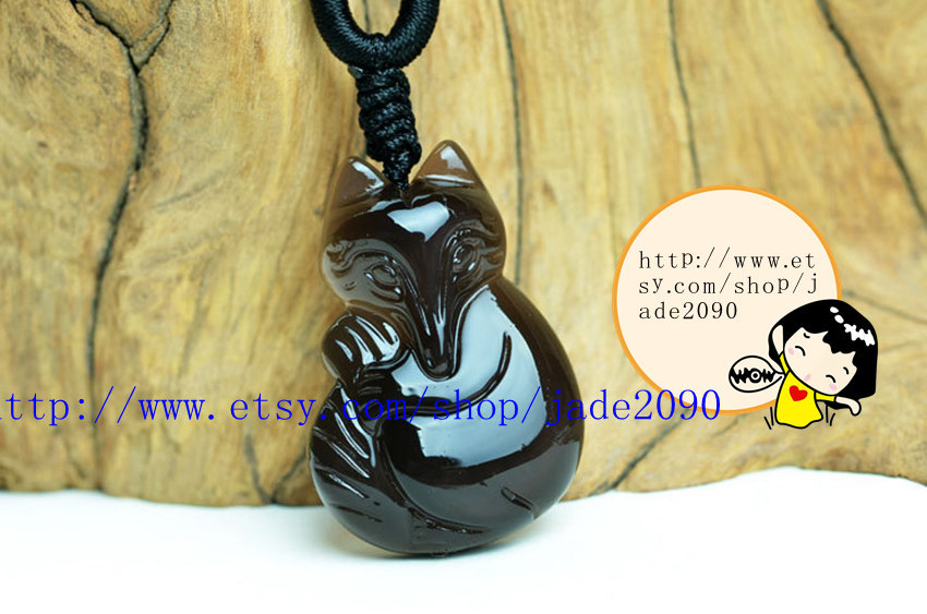 Primary image for Free shipping - Natural black jade gemstone , ICE black jade charm good luck Fox