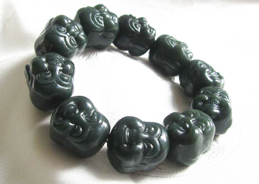 Primary image for Free shipping - good luck Hand carved  Laughing Buddha Head  green jadeite jade
