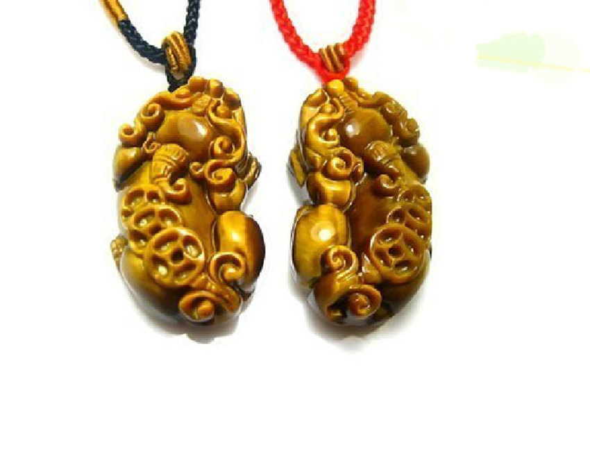 Free Shipping - good luck 100% Natural Yellow Tiger eye stone carved Pi Yao Amul image 2