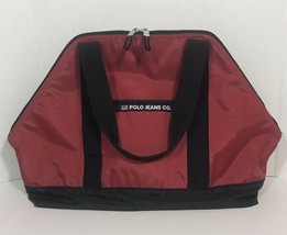 Vintage Polo Jeans Co Ralph Lauren Spellout Duffel Gym Shoulder Bag Red 90s - $29.69
