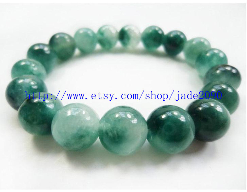 Primary image for Free Shipping - 100% Nice Natural drak Green Jadeite Jade charm beaded jade Brac